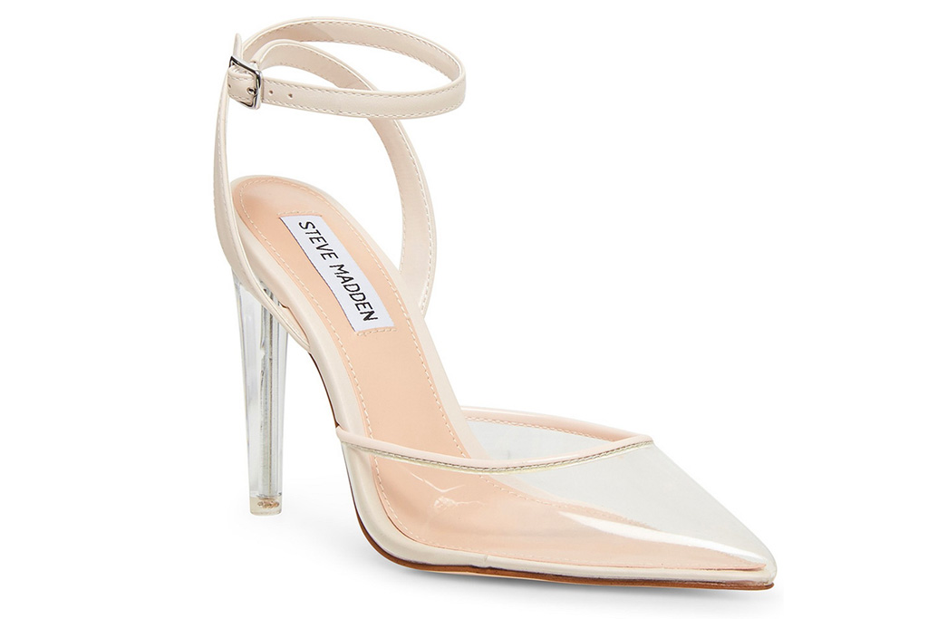 clear heels, pointed toe, steve madden