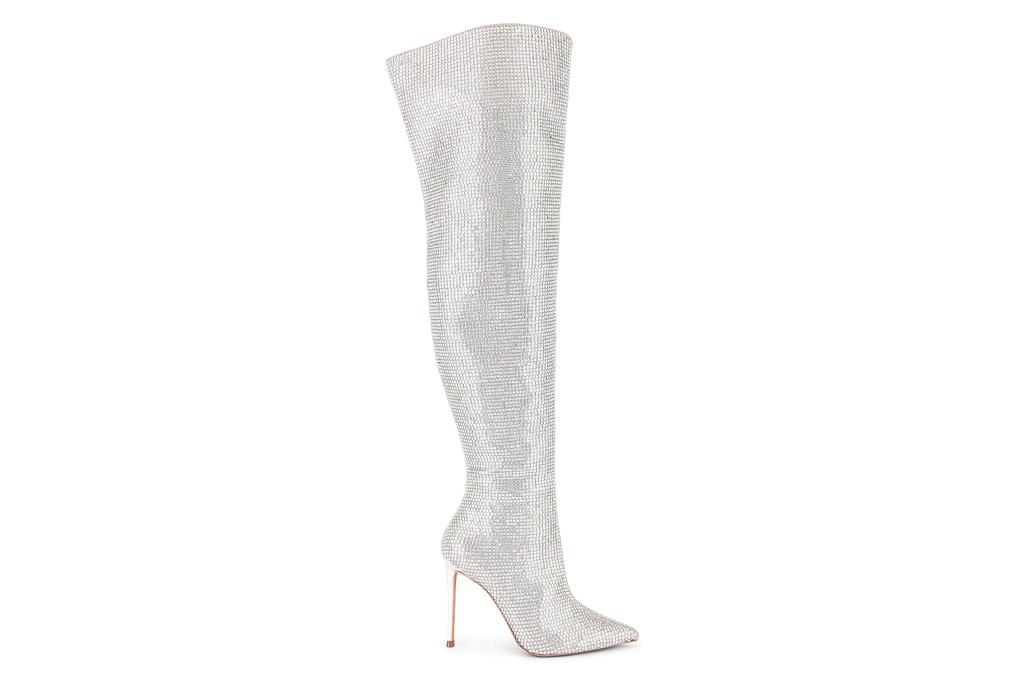 silver boots, glitter, steve madden