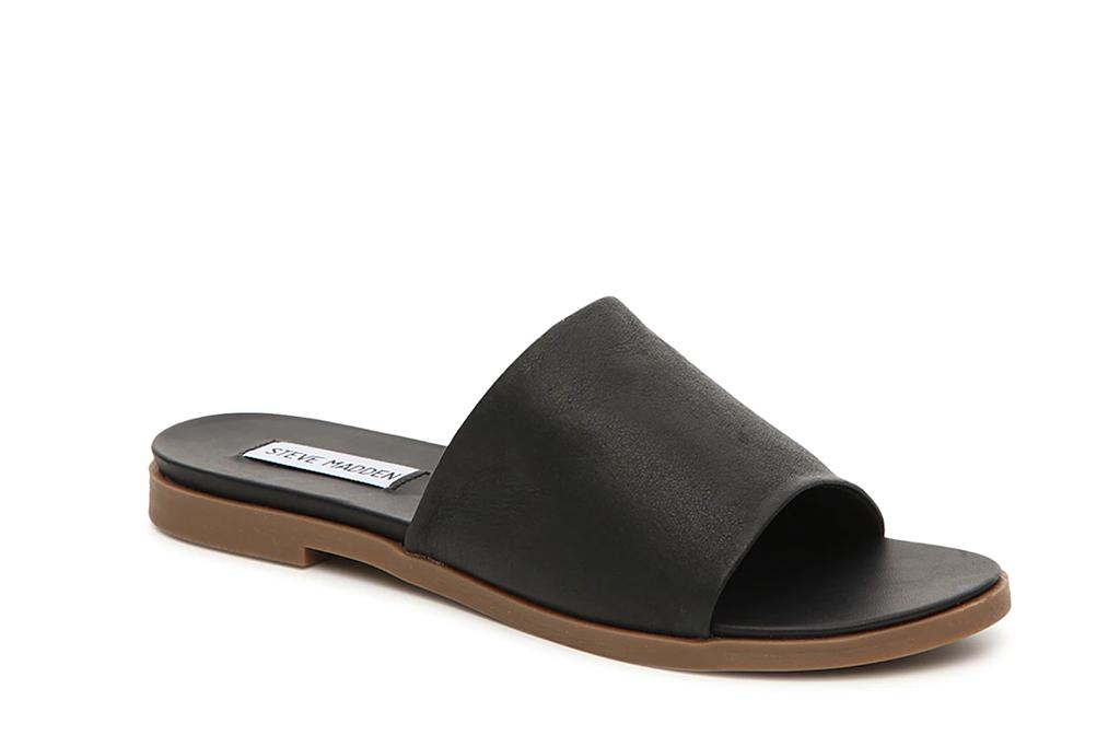 steve madden, leather slides, black sandals