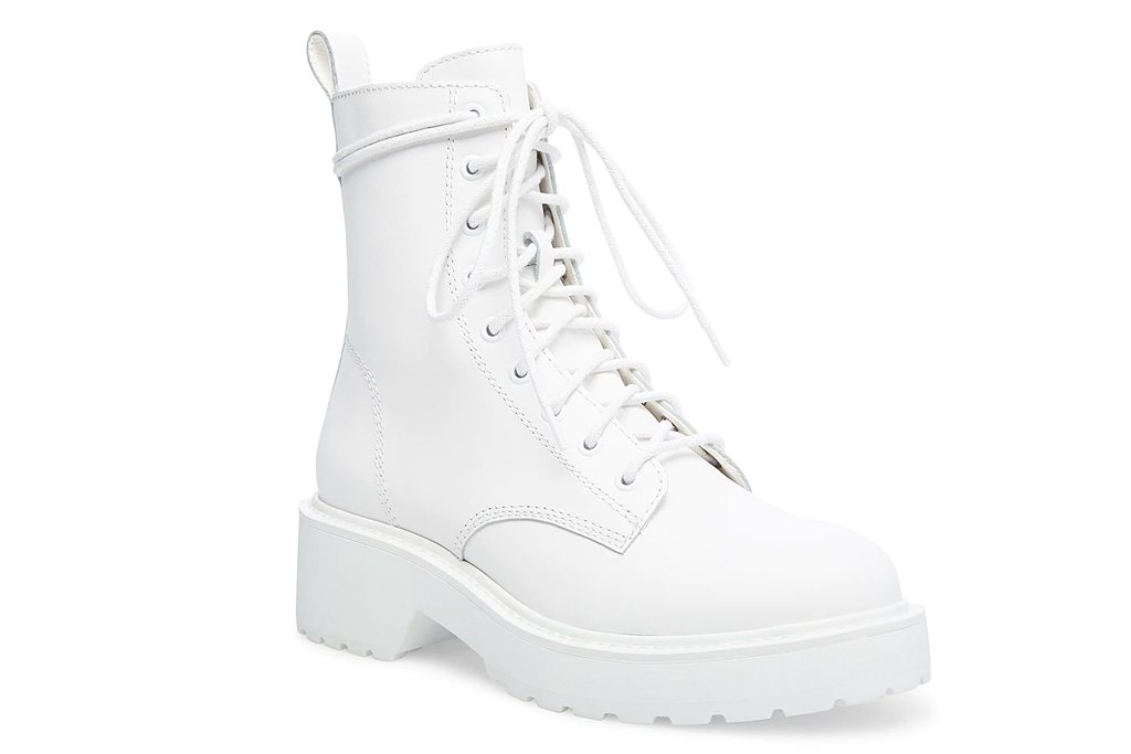 white boots, combat boots, steve madden