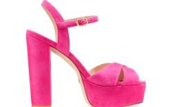 platform sandals, pink, heels, stuart weitzman