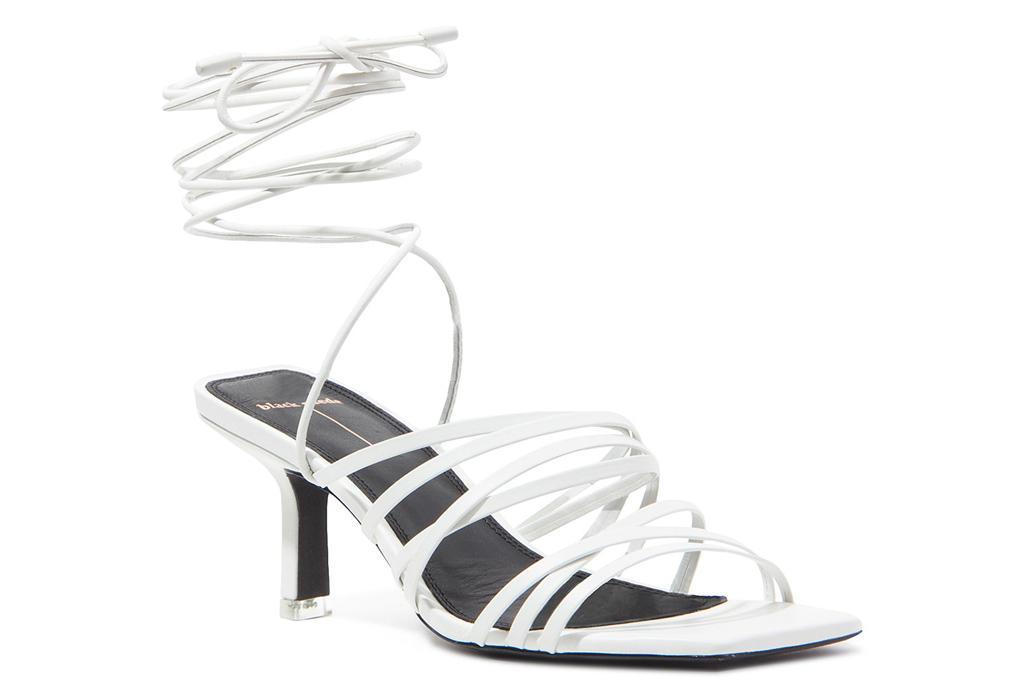 white heels, sandals, ankle wrap, studio black suede
