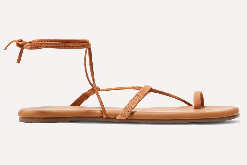 tan sandals, loop toe, tkees