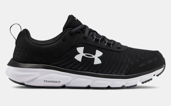 black sneakers, white, under armour