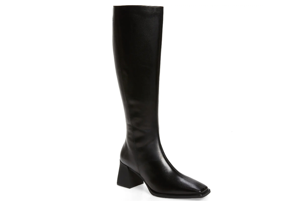 black boots, knee-high, heel, square-toe, shoes