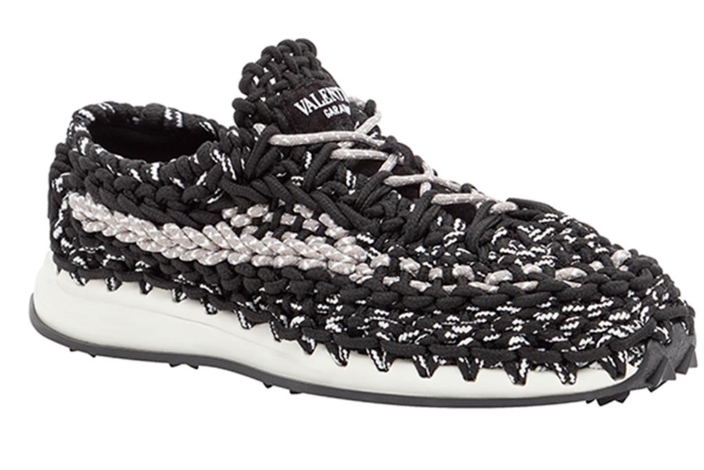 valentino crochet sneaker, black woven sneaker, luxury sneaker