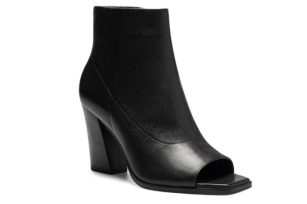 peep toe booties, boots, heels, black, vince camuto