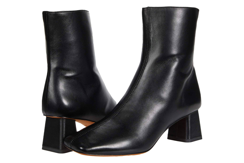 square toe boots, black, leather, vince