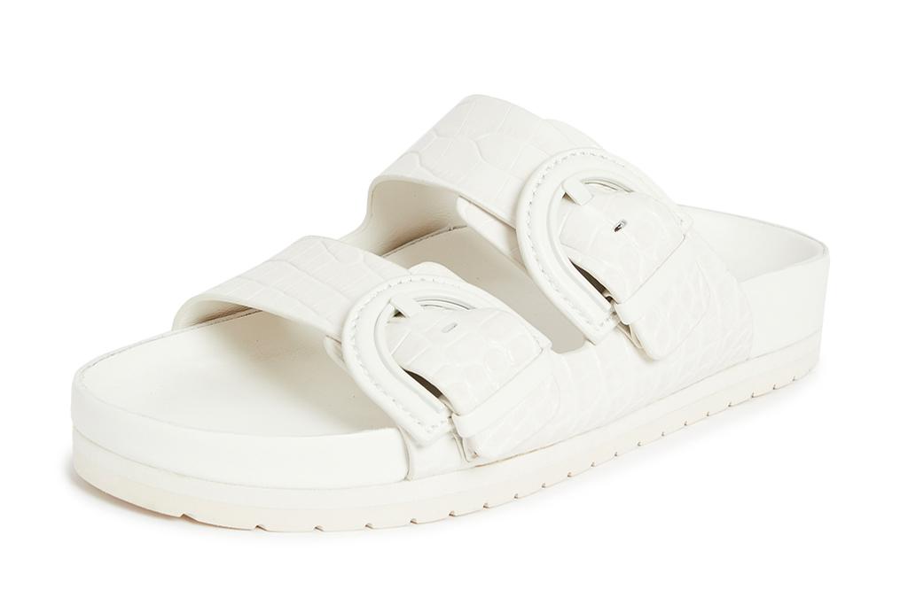 white sandals, double strap, vince
