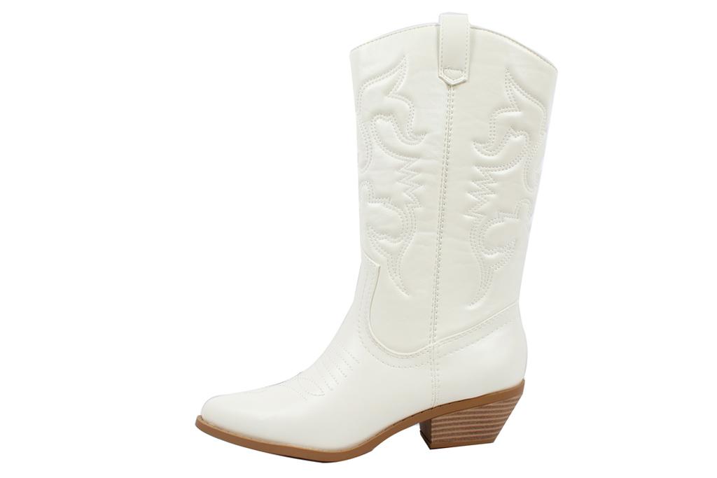 white boots, cowboy, white, walmart