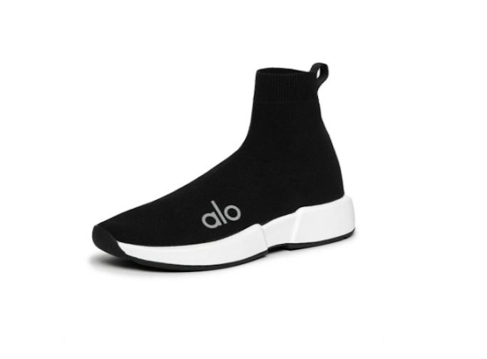 alo yoga, black sneakers, knit sneakers