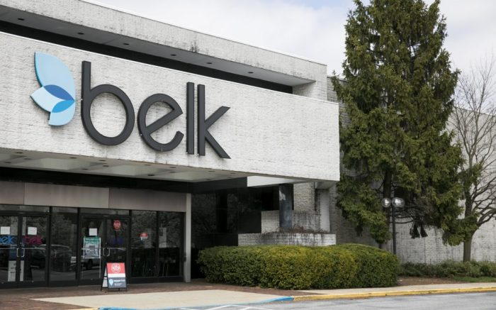A logo sign outside of a Belk retail store location in Westminster, Maryland on March 26, 2020. (Photo by Kristoffer Tripplaar/Sipa USA)(Sipa via AP Images)