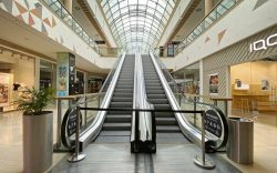 Empty aisles and escalators-closed stores, shops,
