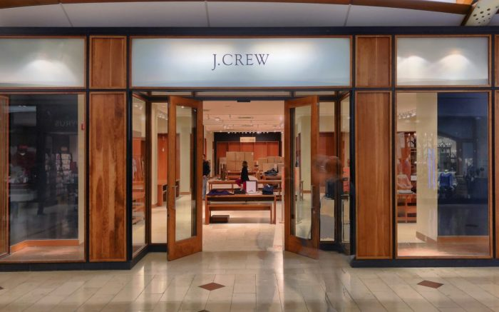 Exterior of a J.Crew retail store at the Westfield Annapolis mall in Annapolis, Maryland Thursday, January 25, 2018. The struggling fashion brand J.Crew filed for bankruptcy protectionMay 4, 2020, the first major retailer to do so since the coronavirus pandemic forced most stores across the United States to close their doors. (AP Photo/NewsBase)