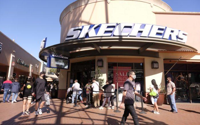 Skechers store at the Citadel Outlets in Commerce, Calif., Feb. 21, 2021. (Ringo Chiu via AP)