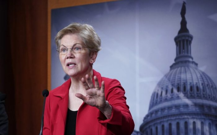 Sen. Elizabeth Warren, D-Mass., speaks during a news conference on Capitol Hill in Washington, Monday, March 1, 2021, to unveil a proposed Ultra-Millionaire Tax Act. (AP Photo/Susan Walsh)