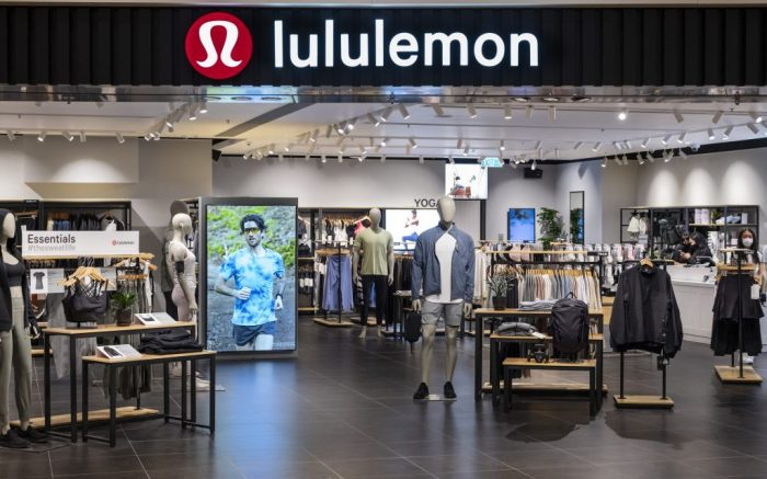 Canadian sportswear clothing band, Lululemon logo and store seen in Hong Kong. (Photo by Budrul Chukrut / SOPA Images/Sipa USA)(Sipa via AP Images)