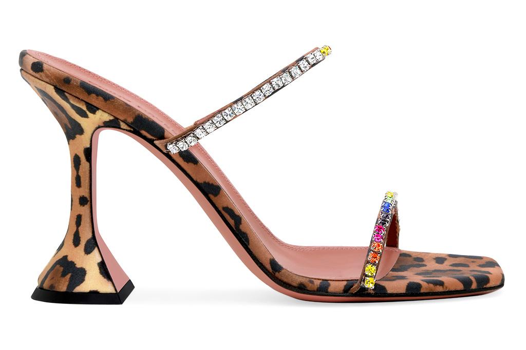 amina muaddi, heels, leopard, sandals