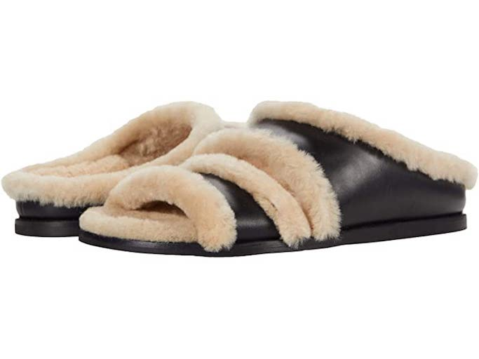 Kaia Gerber, pilates, golden teacher sweatshirt, birkenstock arizona slides, black fur slides