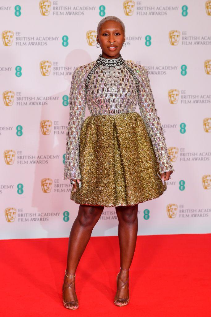 bafta, bafta awards, 2021 bafta, 2021 bafta film awards, red carpet, celebrity style, best dressed, cynthia erivo, louis vuitton