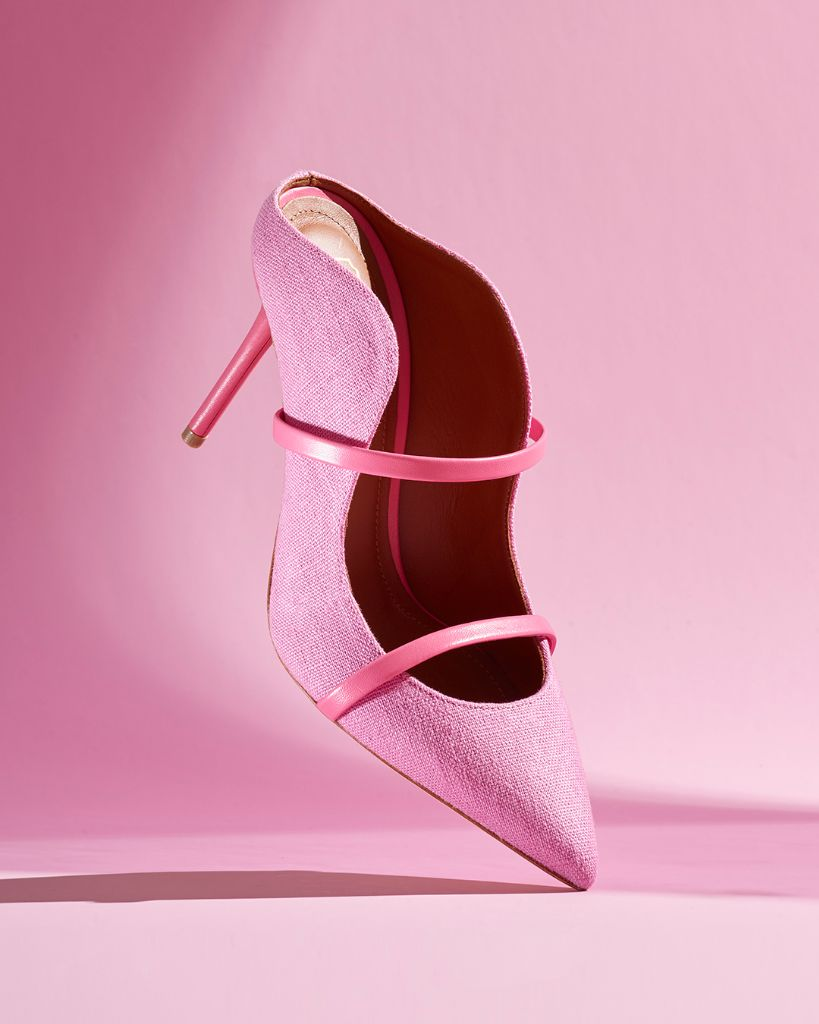 Malone Souliers Maureen pink mule, upcycling, earth day, earth day 2021, sustainability, sustainable fashion, sustainable shoes, eco-friendly fashion, eco-friendly shoes, eco-chic, green fashion, sustainable footwear,