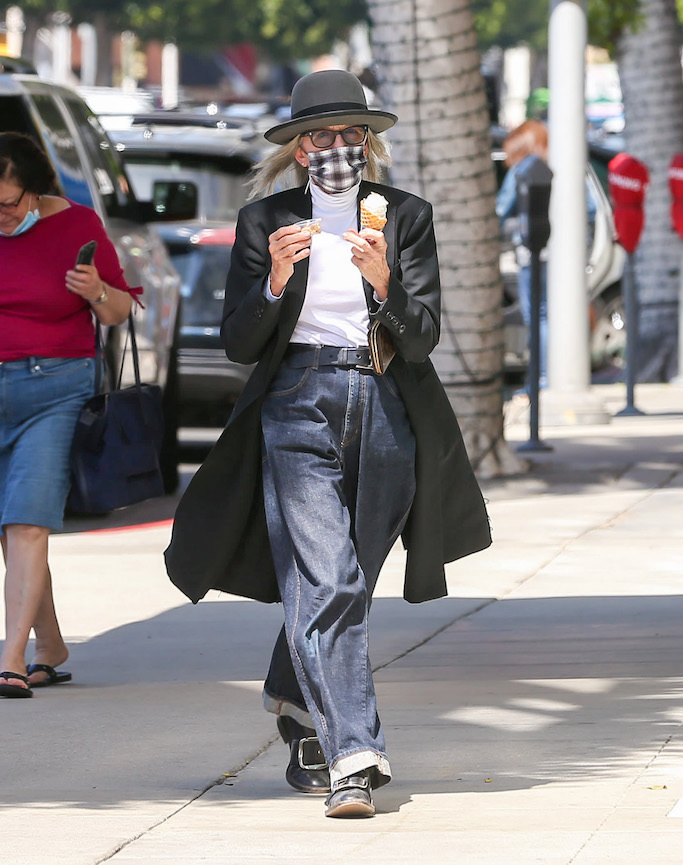 Diane Keaton, ice cream, black loafers, square buckle loafers, jeans, black coat, plaid face mask