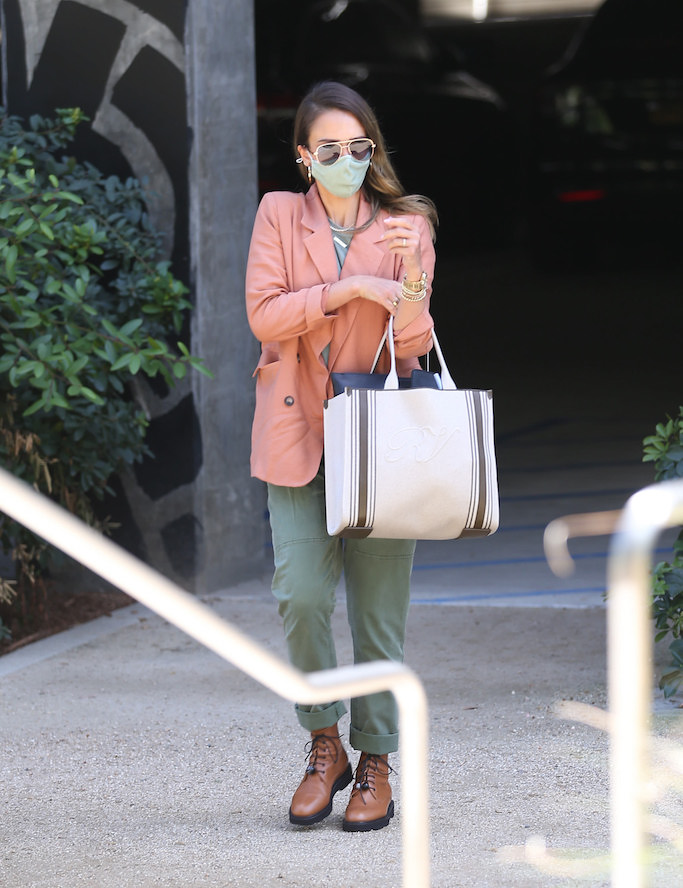 Jessica Alba, peach blazer, olive green pants, brown combat boots, office, la
