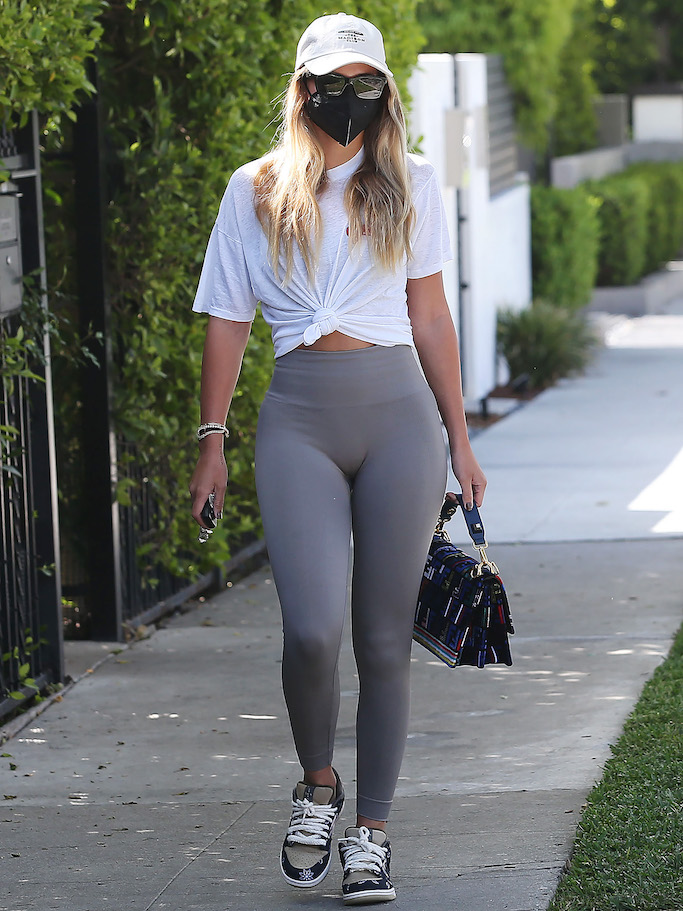 Sofia Richie, gym, la, west hollywood, set active, nike, travis scott, nike travs scott sneakers, fendi, fendi bag