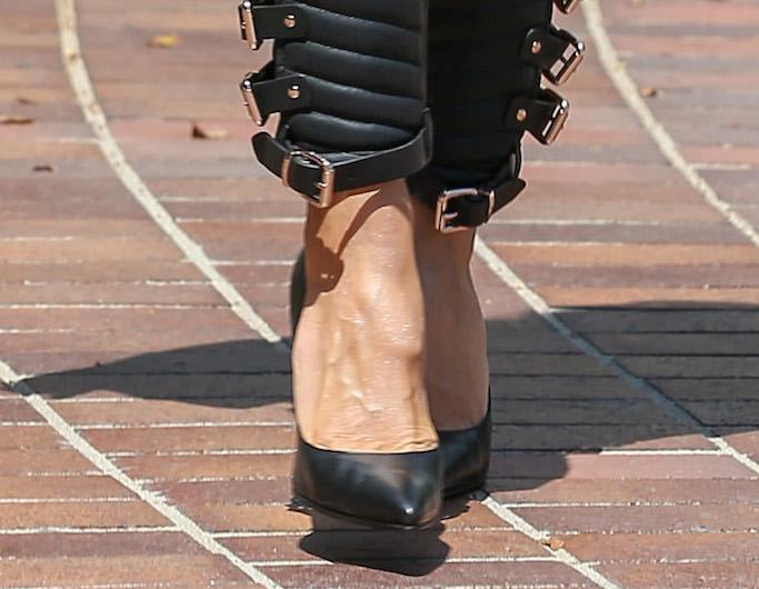 heidi klum, agt, black leather pants, buckle pants, leather jeans, la