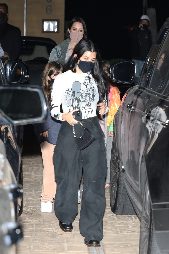 Kourtney Kardashian dines at Nobu Malibu with daughter Penelope Disick and friends in Malibu. 22 Apr 2021 Pictured: Kourtney Kardashian And Penelope Disick. Photo credit: Photographer Group/MEGA TheMegaAgency.com +1 888 505 6342 (Mega Agency TagID: MEGA748833_008.jpg) [Photo via Mega Agency]