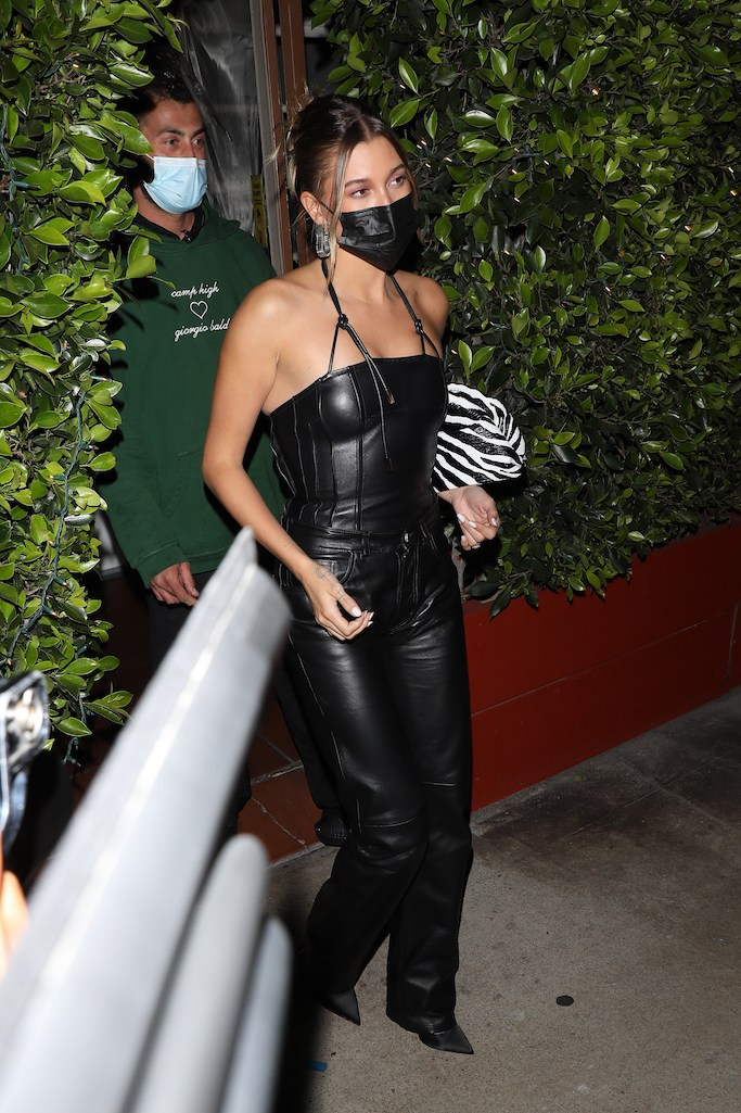 hailey baldwin, Hailey Bieber, leather corset, leather pants, casadei pumps, black pumps
