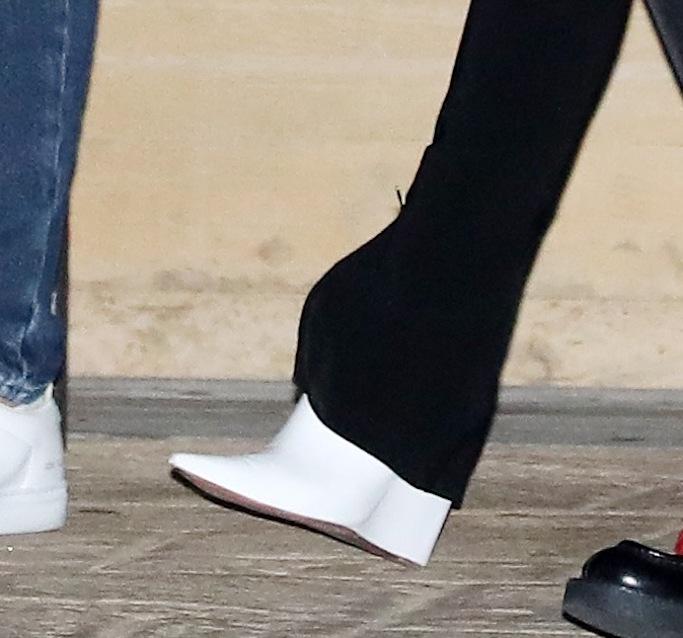 Sofia Richie, Amina Muaddi, white wedge boots