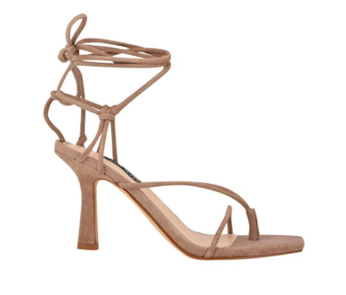 Nine west, beige sandals, ankle wrap sandals