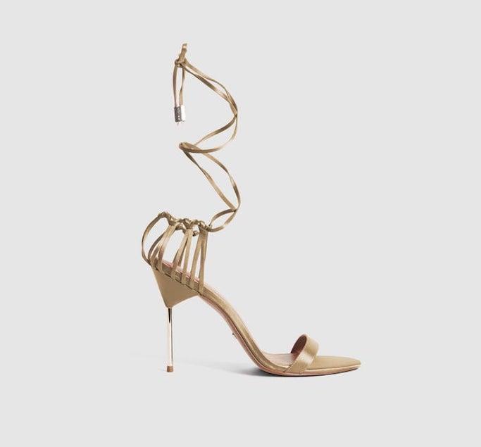 reiss, ankle wrap sandals, gold sandals
