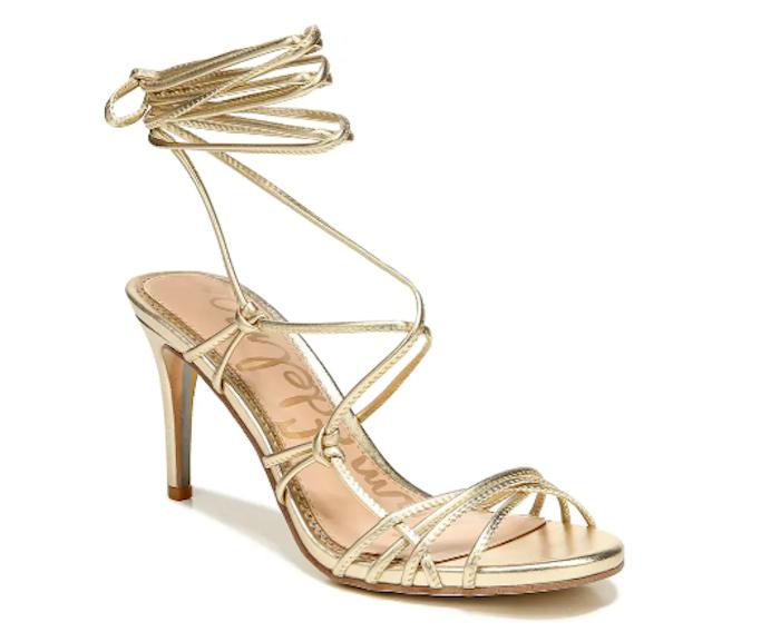 sam edelman, gold sandals, ankle wrap sandals