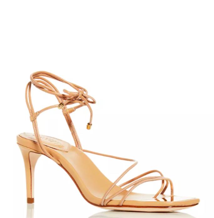 Schutz, beige sandals, ankle wrap sandals