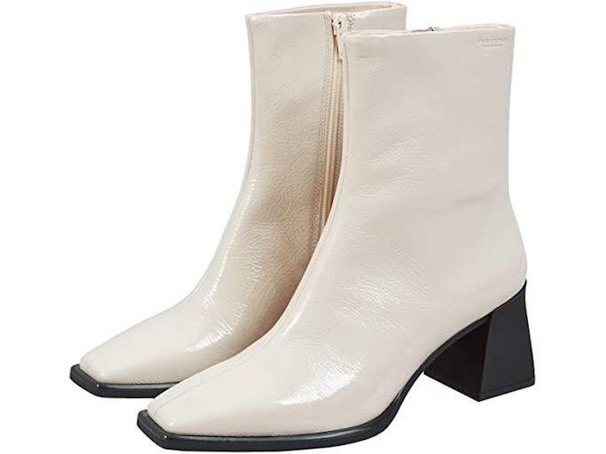 vagabond shoe makers, white boots, ankle boots, sqaure toe boots