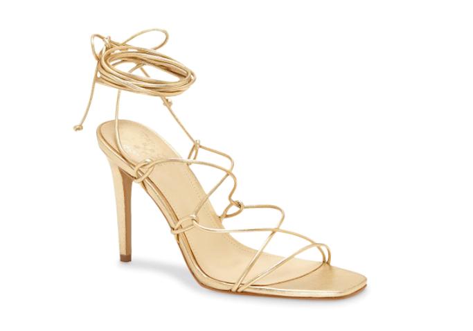 vince, gold sandals, ankle wrap sandals