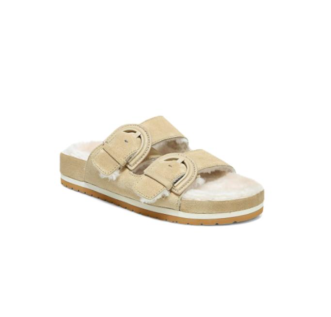 Kaia Gerber, birkenstocks, black slides, shearling sandals