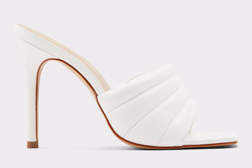 white mules, square toe, aldo