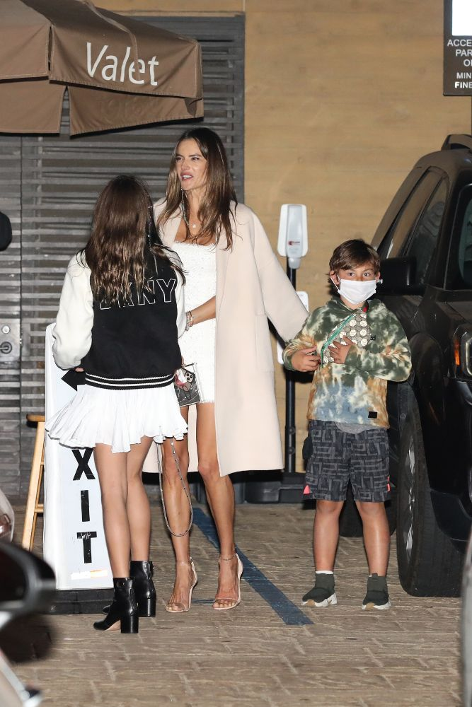 alessandra ambrosio, dress, coat, heels, see-through sandals, kids, richard lee, date, la