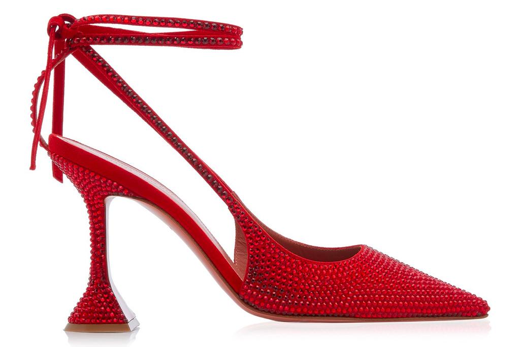 amina muaddi, heels, red, karma