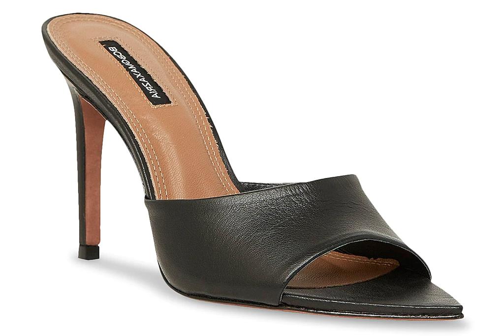 black heels, pointed toe, bcbg