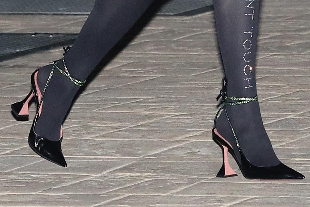 bella thorne, dress, coat, tights, heels, amina muaddi, benjamin mascolo, nobu, date, la, fiancé