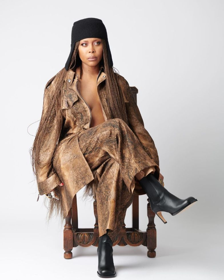 erykah badu, leather coat, dress, heels, burberry, fall 21, model, mesh
