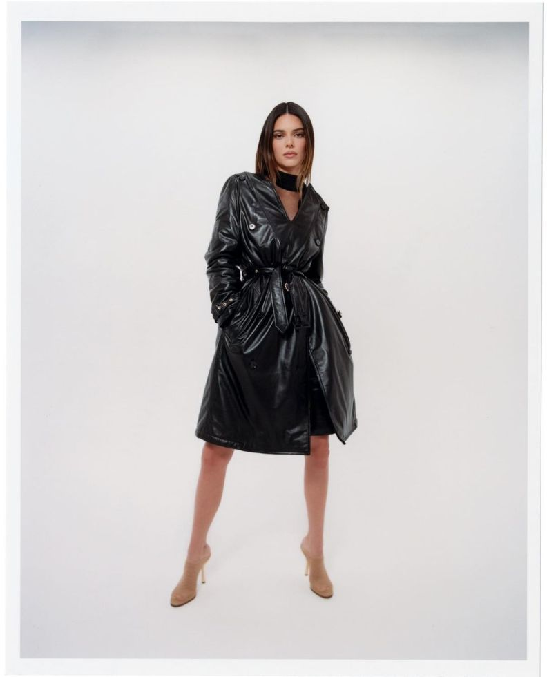kendall jenner, leather coat, dress, heels, burberry, fall 21, model, mesh