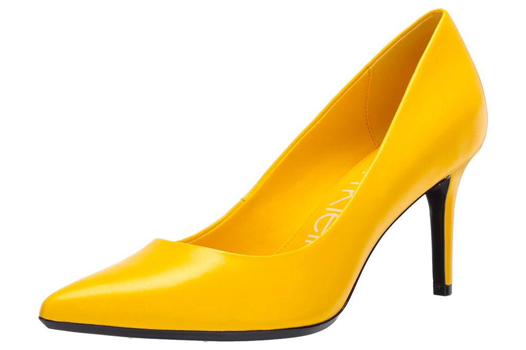 yellow heels, pumps, calvin klein
