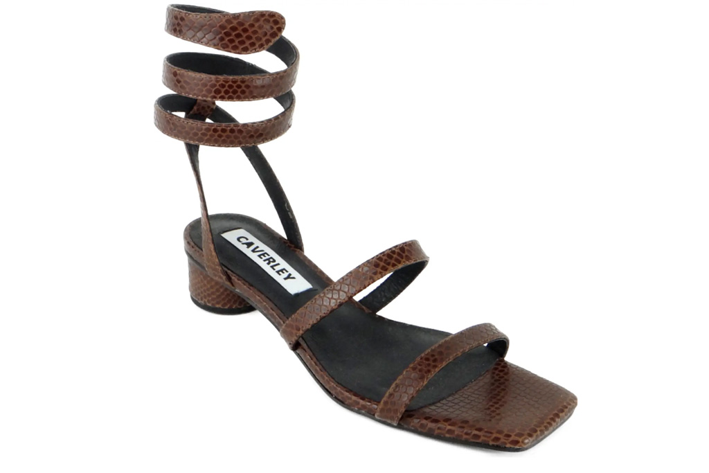 sandals, brown, ankle wrap, caverley