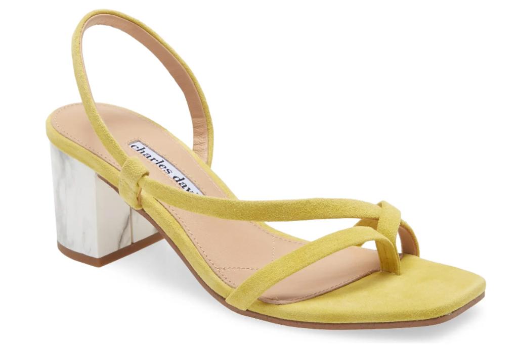 yellow heels, sandals, charles david