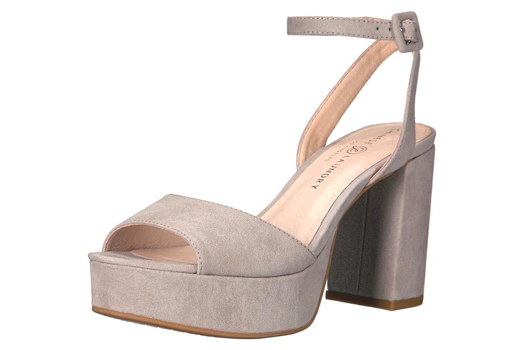 platform sandals, block heel, taupe, chinese laundry